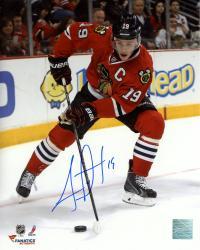 "Jonathan Toews Chicago Blackhawks Autographed 8"" x 10"" Vertical Red Uniform Photograph"
