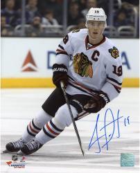 """Jonathan Toews Chicago Blackhawks Autographed 8"""" x 10"""" Vertical White Uniform Photograph"""
