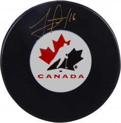 Jonathan Toews Team Canada Autographed Canada Logo Hockey Puck - Mounted Memories