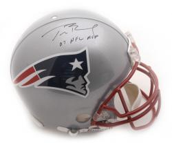 Tom Brady New England Patriots Autographed Riddell Pro-Line Authentic Helmet with 07 NFL MVP Inscription