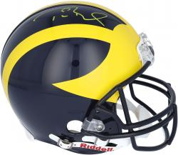 Tom Brady Michigan Wolverines Autographed Riddell Pro-Line Authentic Helmet - Mounted Memories