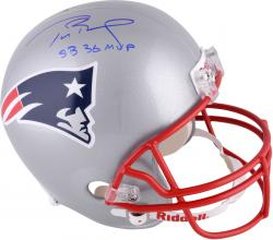 Tom Brady New England Patriots Autographed Riddell Replica Helmet with Super Bowl XXXVI MVP Inscription