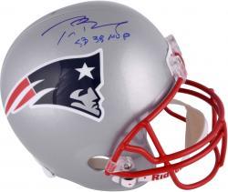 Tom Brady New England Patriots Autographed Riddell Replica Helmet with Super Bowl XXXVIIIInscription