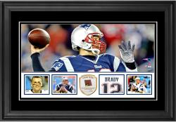 "Tom Brady New England Patriots Framed 10"" x 18""  Panoramic with Piece of Game-Used Football - Limited Edition of 250"