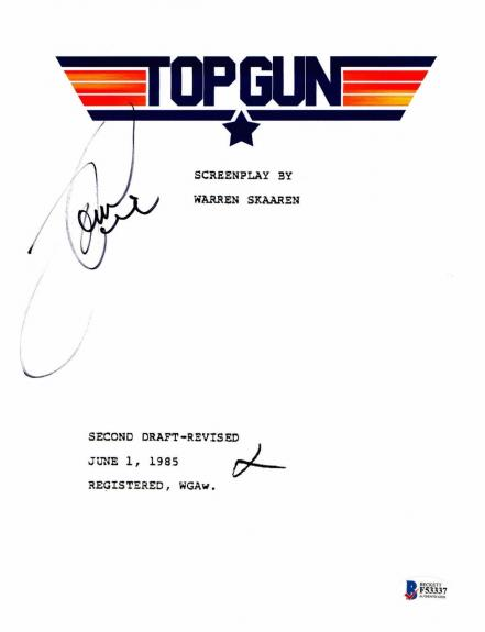 Tom Cruise Signed Autographed Top Gun Full Movie Script Beckett Bas Coa