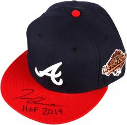 Tom Glavine Atlanta Braves Autographed New Era Cap with HOF 2014 Inscription - Mounted Memories