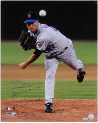 Tom Glavine New York Mets Autographed 16'' x 20'' Releasing Ball Photograph with 300 Win 8 5 07 Inscription - Mounted Memories