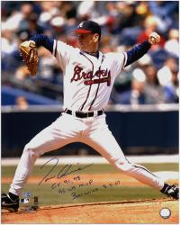 "Tom Glavine Atlanta Braves Autographed 16"" x 20"" Photograph with ""CY 91,98"", ""95 WS MVP"" and ""300 Wins 8-5-07"" Inscriptions"