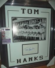 Tom Hanks A League Of Their Own Autograph Signed Double Matted & Framed Jsa Coa
