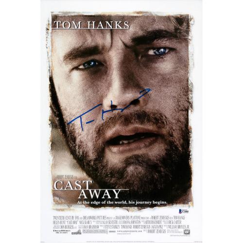 "Tom Hanks Autographed 12"" x 18"" Cast Away Photograph - BAS"