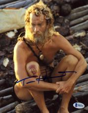 """Tom Hanks Autographed 8"""" x 10"""" Cast Away Sitting with Busted Knee Photograph - Beckett COA"""