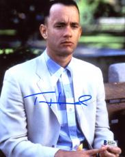 "Tom Hanks Autographed 8"" x 10"" Forrest Gump Close Up Sitting on Bench Photograph - Beckett COA"