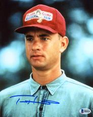 "Tom Hanks Autographed 8"" x 10"" Forrest Gump Close Up Wearing Red Hat Photograph - Beckett COA"