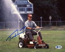 "Tom Hanks Autographed 8"" x 10"" Forrest Gump On Lawn Mower Cutting the Grass Photograph - Beckett COA"