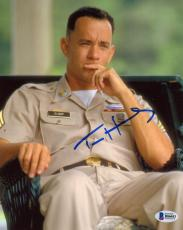 "Tom Hanks Autographed 8"" x 10"" Forrest Gump Sitting Down In Army Uniform Photograph - Beckett COA"