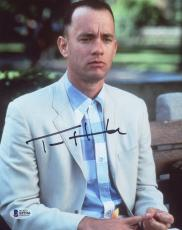 "Tom Hanks Autographed 8"" x 10"" Forrest Gump Sitting Up Close Photograph - Beckett COA"