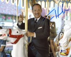"Tom Hanks Autographed 8"" x 10"" Saving Mr. Banks Riding the Merry Go Round Photograph - Beckett COA"