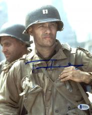 "Tom Hanks Autographed 8"" x 10"" Saving Private Ryan Close Up Holding Backpack Photograph - Beckett COA"