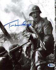 "Tom Hanks Autographed 8"" x 10"" Saving Private Ryan Holding Gun Yelling in The Field Black & White Photograph - Beckett COA"