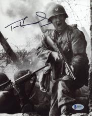 "Tom Hanks Autographed 8"" x 10"" Saving Private Ryan Shooting Photograph - Beckett COA"