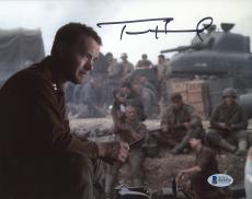 "Tom Hanks Autographed 8"" x 10"" Saving Private Sitting Photograph - Beckett COA"