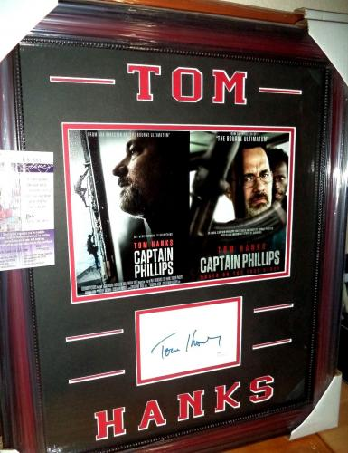 "Tom Hanks ""captain Phillips"" Autographed Signed Double Matted & Framed Jsa Coa"