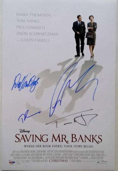 TOM HANKS Colin Farrell DICK VAN DYKE Signed SAVING MR BANKS 12x18 Photo PSA COA