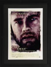 "Tom Hanks Framed Autographed 12"" x 18"" Cast Away Movie Poster - PSA/DNA"