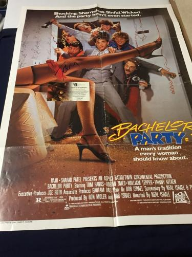 Tom Hanks Bachelor Party Original Rare Signed Autograph 27x40 Photo Poster COA