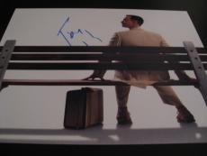 TOM HANKS SIGNED AUTOGRAPH 8x10 PHOTO FORREST GUMP SITTING ON BENCH PROMO COA F