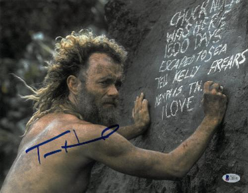 Tom Hanks signed Cast Away 11x14 Photo (Horizontal Writing on Rock)- Beckett Holo #C88941