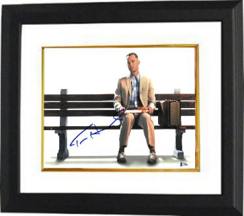 Tom Hanks signed Forrest Gump 11x14 Photo Custom Framed (Horizontal on Bench)- Beckett Holo #C88880