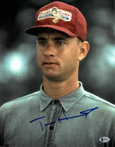Tom Hanks signed Forrest Gump 11x14 Photo (Vertical Close Up w/ Bubba Gump Hat)- Beckett Holo #C88953