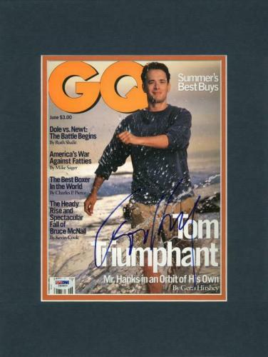 Tom Hanks Signed & Matted Gq Magazine Cover PSA/DNA #I84803