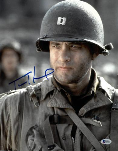 Tom Hanks signed Saving Private Ryan 11x14 Photo (Vertical with Gun) very minor smudge- Beckett Holo #C88984