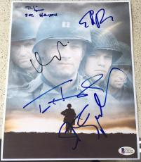 "Tom Hanks Spielberg Damon Signed Autograph ""saving Private Ryan"" Poster Beckett"