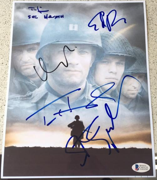"""SAVING PRIVATE RYAN"""" HANKS SPIELBERG 5x FULL CAST SIGNED AUTOGRAPH POSTER BAS"""