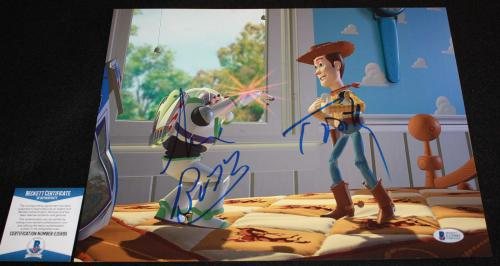Tom Hanks Tim Allen signed 11 x 14, Toy Story, Disney, Beckett BAS
