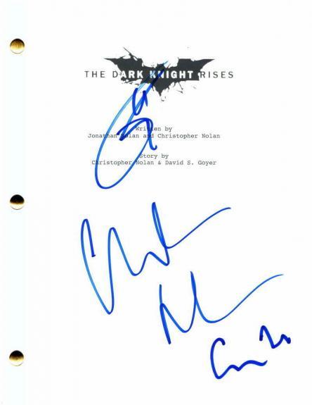 Tom Hardy Christian Bale & C Nolan Signed Autograph The Dark Knight Rises Script