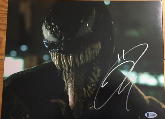"TOM HARDY SIGNED AUTOGRAPH ""VENOM"" NEW MOVIE IMAGE RARE BIG 11x14 PHOTO BAS E"