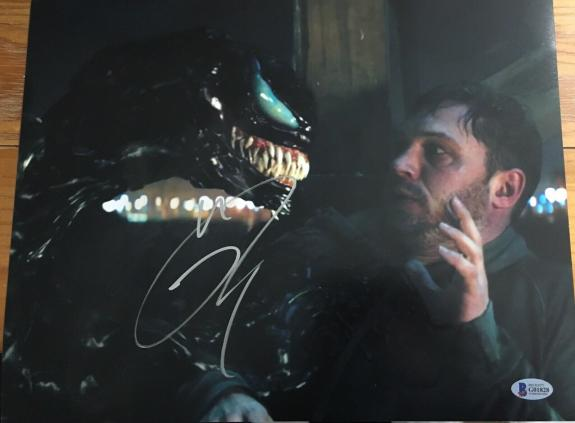 "TOM HARDY SIGNED AUTOGRAPH ""VENOM"" NEW MOVIE IMAGE RARE BIG 11x14 PHOTO BAS C"