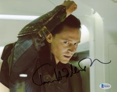 "Tom Hiddleston Autographed 8"" x 10"" Thor Angry Fist Up Photograph - Beckett COA"