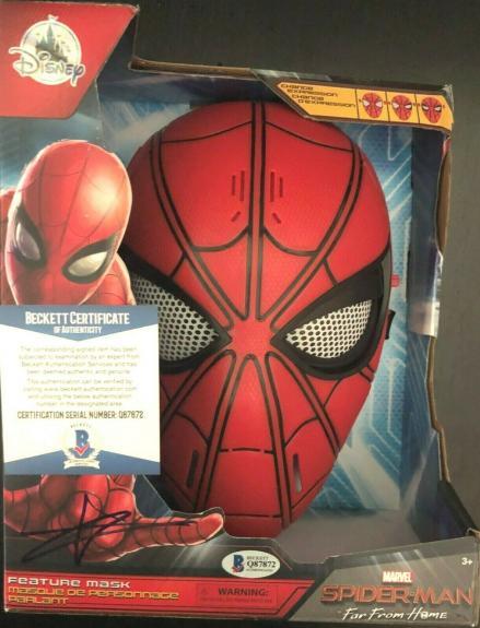 Tom Holland Spider Man Avengers Signed Mask w/Beckett COA Proof Disney