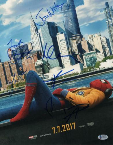 TOM HOLLAND, TOMEI +4 CAST SIGNED AUTOGRAPH - SPIDERMAN: HOMECOMING 11x14 POSTER