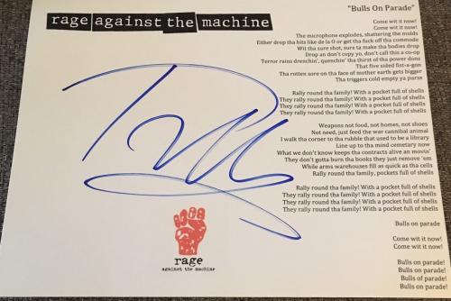 Tom Morello Rage Against The Machine Signed Autograph Bulls Custom Lyric Sheet