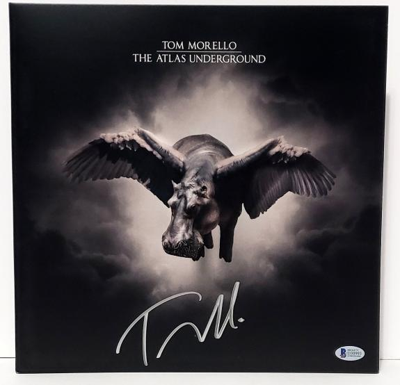 "TOM MORELLO Signed ""THE ATLAS UNDERGROUND"" Album LP Beckett BAS RATM, Audioslave"