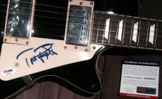Tom Petty Full Name Signed Autograph Very Rare Black Electric Guitar Psa/dna Coa