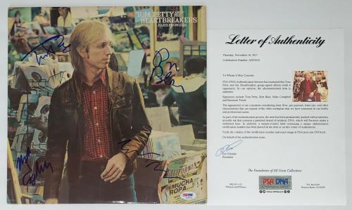 Tom Petty Ron Blair Mike Campbell Benmont Tench Signed Hard Promises Record Psa