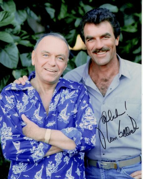 TOM SELLECK AUTOGRAPHED 8x10 COLOR PHOTO+COA       GREAT POSE WITH FRANK SINATRA