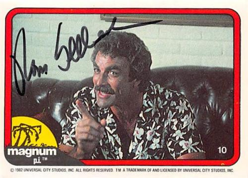 Tom Selleck autographed trading card Magnum PI 1982 TV Show SC #10